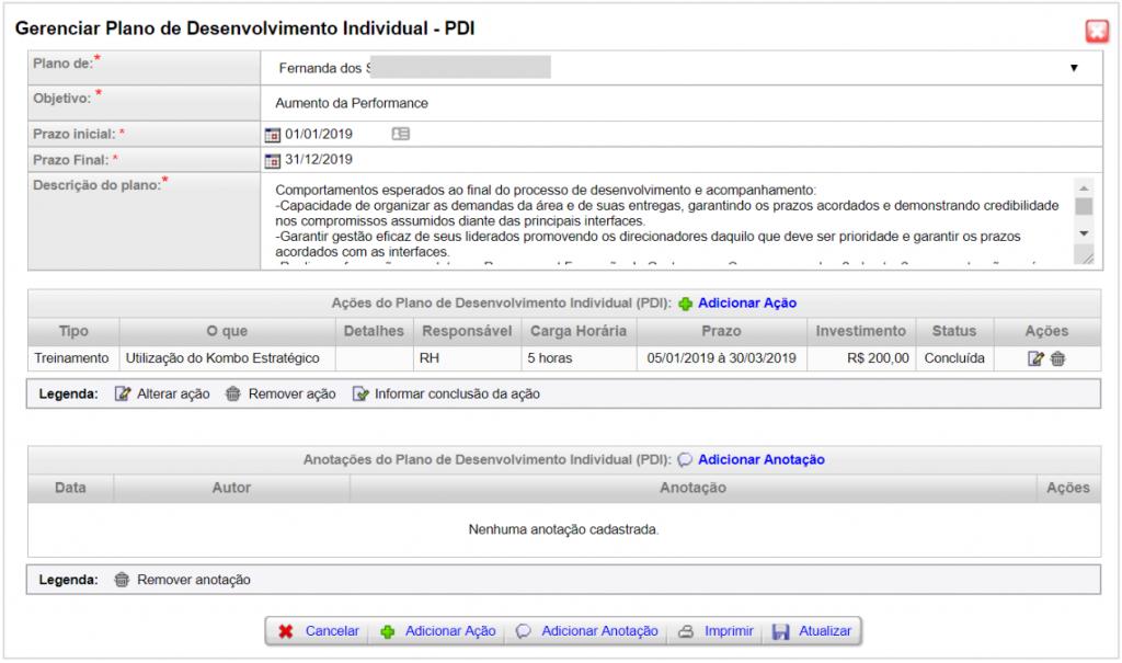 Exemplo de um PDI - Plano de desenvolvimento individual - no sistema Kombo