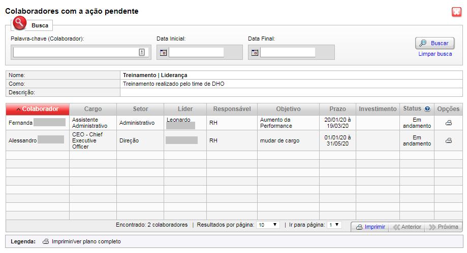 PDI Kombo - Relação de colaboradores que precisam realizar uma determinada ação = turma